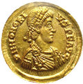 Ancients:Roman, Ancients: Honorius. A.D. 393-423. AV solidus (20 mm). Rome, A.D.404-416. Diademed, draped and cuirassed bust right / Emperorstanding...