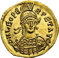 Ancients:Roman, Ancients: Leo I. A.D. 457-474. AV solidus (20 mm, 4.42 g).Constantinople, A.D. 462-466. Helmeted and cuirassed bust facingslightly r...