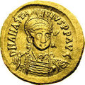 Ancients:Byzantine, Ancients: Anastasius I. A.D. 491-518. AV solidus (20 mm, 4.43 g).Constantinople, A.D. 498-518. Helmeted and cuirassed bust facingsli...