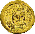 Ancients:Byzantine, Ancients: Justinian I. A.D. 527-565. AV solidus (20 mm, 4.34 g).Constantinople, A.D. 545-565. Diademed, helmeted and cuirassed bustf...