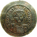 Ancients:Byzantine, Ancients: Justinian I. A.D. 527-565. Æ follis (42 mm). Nicomedia,year 13 (A.D. 549/50). Crowned facing bust, holding globuscruciger;...