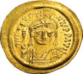 Ancients:Byzantine, Ancients: Justin II. A.D. 565-578. AV solidus (22 mm, 4.46 g).Constantinople. Helmeted and cuirassed bust facing, holding Victoryon ...