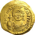 Ancients:Byzantine, Ancients: Maurice Tiberius. A.D. 582-602. AV solidus (21 mm, 4.41g). Constantinople. Helmeted and cuirassed bust facing, holdingglob...
