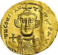 Ancients:Byzantine, Ancients: Constans II. A.D. 641-668. AV solidus (19 mm, 4.43 g).Constantinople, A.D. 650/1. Crowned facing bust, holding globuscruci...