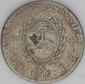 Argentina: , Argentina: Rio de la Plata. 4 Soles 1815FL-PTS, KM13, nicely tonedF-VF, noticeable flan flaw (lamination) in the arms on the reverse,... (Total: 2 coins Item)