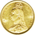 Australia: , Australia: Victoria Jubilee head gold 1/2 Sovereign 1887-M, KM9,lustrous UNC with light surface marks. Variety with the larger,more w...
