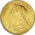 Australia: , Australia: Victoria. Veiled head gold sovereign 1900-P, KM13,lustrous UNC with moderate to heavy surface marks. A bit scarcer inMint ...