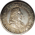 Austria: , Austria: Archduke Ferdinand Charles 2 Taler ND (1654) Hall, KM984,D-3363A, AU with a base of light lilac gray toning and some gold...