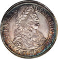 Austria: , Austria: Leopold the Hogmouth Taler 1668 Hall, KM1238, D-3240,Choice AU with beautiful silvery gold toning with bright blue andgold...