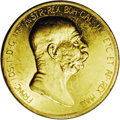 "Austria: , Austria: Franz Joseph I gold 100 Corona 1908, KM2812, Fr-514, Prooflike XF-AU, 60th anniversary of reign. The famous ""Lady in thecl..."