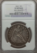 Seated Dollars, 1862 $1 -- Reverse Graffiti -- NGC Details. VF. NGC Census: (1/80).PCGS Population (1/122). Mintage: 11,540. Numismedia Ws...