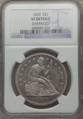 Seated Dollars: , 1860 $1 -- Damaged -- NGC Details. VF. NGC Census: (2/105). PCGSPopulation (1/176). Mintage: 217,600. Numismedia Wsl. Pric...