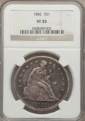 Seated Dollars: , 1842 $1 VF35 NGC. NGC Census: (26/462). PCGS Population (45/526).Mintage: 184,618. Numismedia Wsl. Price for problem free ...