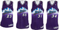 Basketball Collectibles:Uniforms, 1997-98 Utah Jazz Stars Signed Authentic Jerseys Lot of 4....