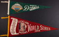 Baseball Collectibles:Others, 1948 Cleveland Indians World Series and Circa 1950's BrooklynDodgers Pennants Lot of 2....