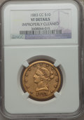 Liberty Eagles: , 1883-CC $10 -- Improperly Cleaned -- NGC Details. VF. NGC Census: (3/144). PCGS Population (3/147). Mintage: 12,000. Numism...