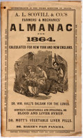Books:Americana & American History, [Almanacs] A. L. Scovill & Co.'s Farmers' & Mechanics'Almanac for 1864. Calculated for New York and New England....