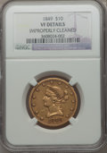 Liberty Eagles: , 1849 $10 -- Improperly Cleaned -- NGC Details. VF. NGC Census:(6/772). PCGS Population (0/377). Mintage: 653,618. Numismed...
