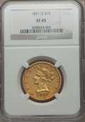 Liberty Eagles: , 1851-O $10 XF45 NGC. NGC Census: (175/552). PCGS Population(129/181). Mintage: 263,000. Numismedia Wsl. Price for problem ...
