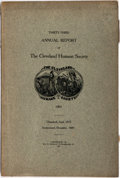 Books:Americana & American History, [Americana] Thirty-Third Annual Report of the Cleveland HumaneSociety, 1905. Cleveland: Wm. E. Kneale, 1906. Oc...