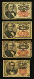 Fractional Currency:Fifth Issue, Fr. 1265 10¢ Fifth Issue. Fr. 1308 25¢ Fifth Issue. Fr. 1309 25¢Fifth Issue Two Examples.. ... (Total: 4 notes)