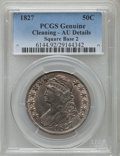 Bust Half Dollars, 1827 50C Square Base 2 -- Cleaning -- PCGS Genuine. AU Details. NGCCensus: (132/1194). PCGS Population (206/1108). Mintage...