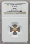 California Fractional Gold, 1855 25C Liberty Round 25 Cents, BG-226A, R.5, MS64 NGC. NGCCensus: (2/0). PCGS Population (2/0). ...
