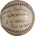 Baseball Collectibles:Balls, 1932-33 Philadelphia Athletics Team Signed Baseball & Connie Mack Telegram To Max Bishop. ...