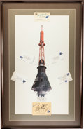 "Explorers:Space Exploration, Mercury Seven Astronauts: ""Mercury Spacecraft"" Litho in Framed Display with Individual Signatures of all Seven...."