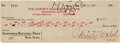 Autographs:Checks, 1926 Walter Johnson Signed (Endorsed) Christy Walsh World SeriesCheck....
