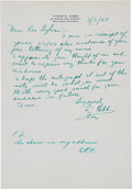 Autographs:Letters, 1948 Ty Cobb Signed Handwritten Letter, PSA/DNA Gem Mint 10....