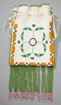 American Indian Art:Beadwork and Quillwork, AN APACHE BEADED HIDE DRAWSTRING POUCH. c. 1925...