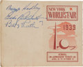 Autographs:Others, 1939 Babe Ruth & Eddie Rickenbacker Signed World's Fair Ticket Booklet....