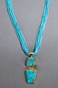 American Indian Art:Jewelry and Silverwork, A NAVAJO SILVER, GOLD AND TURQUOISE NECKLACE. Naveek. c. 1980...