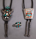 American Indian Art:Jewelry and Silverwork, THREE ZUNI SILVER AND STONE JEWELRY ITEMS. Frank Vacit. c. 1945...(Total: 3 )