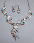 American Indian Art:Jewelry and Silverwork, A SOUTHWEST SILVER, TURQUOISE AND CORAL NECKLACE WITH MATCHINGEARRINGS... (Total: 3 )
