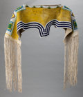 American Indian Art:Beadwork and Quillwork, A UTE BEADED HIDE DRESS YOKE. c. 1890...