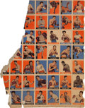 Boxing Cards:General, 1948 - 49 Leaf Uncut Boxing Partial Sheet With Louis, Dempsey andJohnson. ...
