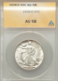 1938-D 50C AU58 ANACS. NGC Census: (81/1101). PCGS Population (97/2388). Mintage: 491,600. Numismedia Wsl. Price for pro...