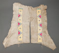 American Indian Art:Beadwork and Quillwork, A PAIR OF HIDATSA MEN'S QUILLED HIDE LEGGINGS. c. 1890...