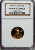 Modern Bullion Coins: , 1999-W G$10 Quarter-Ounce Gold Eagle PR70 Ultra Cameo NGC. NGC Census: (752). PCGS Population (134). Numismedia Wsl. Price...