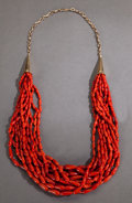 American Indian Art:Jewelry and Silverwork, A SOUTHWEST GOLD AND CORAL NECKLACE. c. 1980...