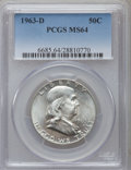 Franklin Half Dollars: , 1963-D 50C MS64 PCGS. PCGS Population (7121/1229). NGC Census:(2938/2756). Mintage: 67,069,292. Numismedia Wsl. Price for ...