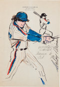 Baseball Collectibles:Others, 1986 Gary Carter World Series Game Six Original Artwork by LeRoyNeiman....