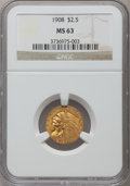 Indian Quarter Eagles: , 1908 $2 1/2 MS63 NGC. NGC Census: (1440/1804). PCGS Population(1460/1858). Mintage: 564,800. Numismedia Wsl. Price for pro...