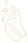 Estate Jewelry:Necklaces, Cultured Pearl, Quartz, Gold Necklaces. ... (Total: 2 Items)