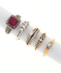 Estate Jewelry:Rings, Diamond, Ruby, Gold Rings. ... (Total: 5 Items)