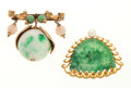 Estate Jewelry:Brooches - Pins, Jade, Cultured Pearl, Gold Brooches. ... (Total: 2 Items)