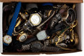 Timepieces:Wristwatch, An Abundance Of Various Wristwatches For Parts Or Repair. ...