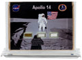 Explorers:Space Exploration, Apollo 14 Flown Kapton Foil, Beta Cloth, and Strap Segments inDesktop Display. ...